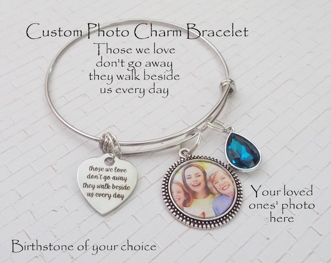 Memorial Jewelry, Custom Photo Memorial Bracelet, In Memory of Loved One, Grief and Sympathy Gift, Custom Memorial Charm Bracelet