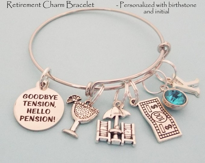 Retirement Gift for Her, Personalized Jewelry, Retiree Gift, Women Retiring Charm Bracelet, Employee Retirement, Teacher, Nurse, Retire