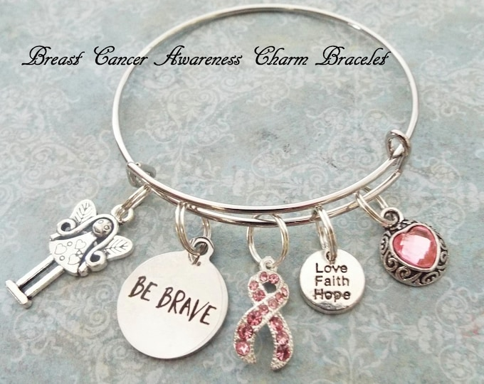Survivor Gift, Breast Cancer Charm Bracelet, Pink Ribbon Jewelry, Personalized Gift, Gift for Her, Women's Custom Jewelry, Friend Birthday