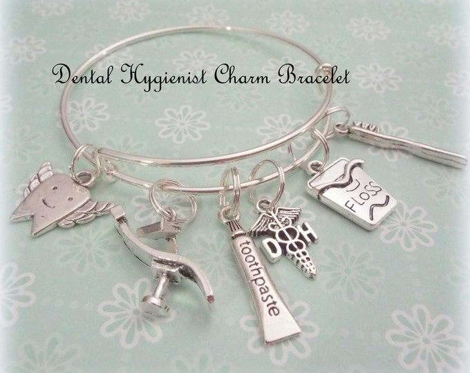 Dental Hygienist Gift, Graduation Gift for Dental Student, Women Jewelry Gift, Dental Student Gift, Tooth Fairy Charm Bracelet, Gift for Her