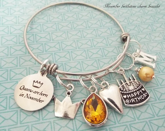November Birthstone Personalized Gift for Her, Customized Charm Bracelet for Girls or Women, Birthday Cake Charm, Girl Gift, Custom Gift