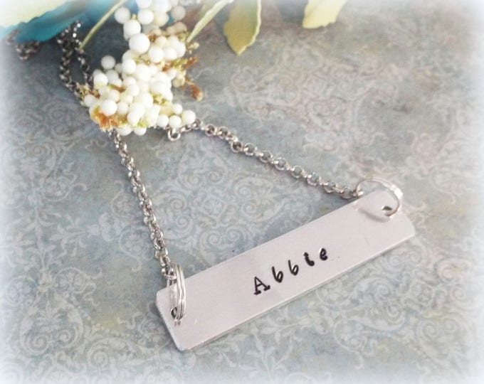 Customized Name Bar Necklace, Personalized Jewelry for Mother, Custom Necklace, Layering Necklace, Initial Bar, Handstamped Necklace