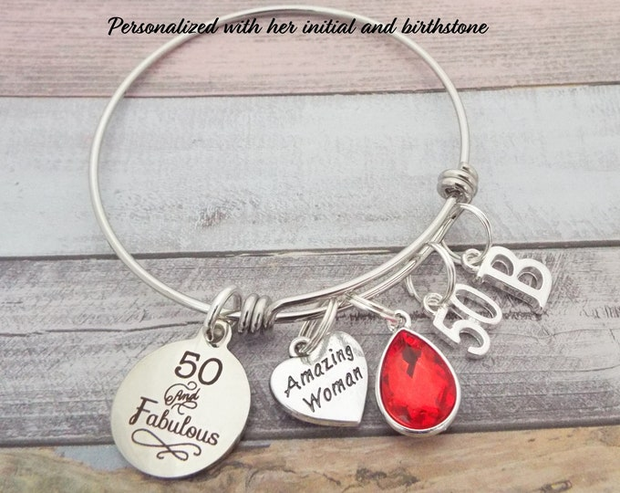 50th Birthday Gift, Birthday Gift for Best Friend, Personalized Jewelry, Fifty and Fabulous Charm Bracelet, Personalized Gift, Turning 50