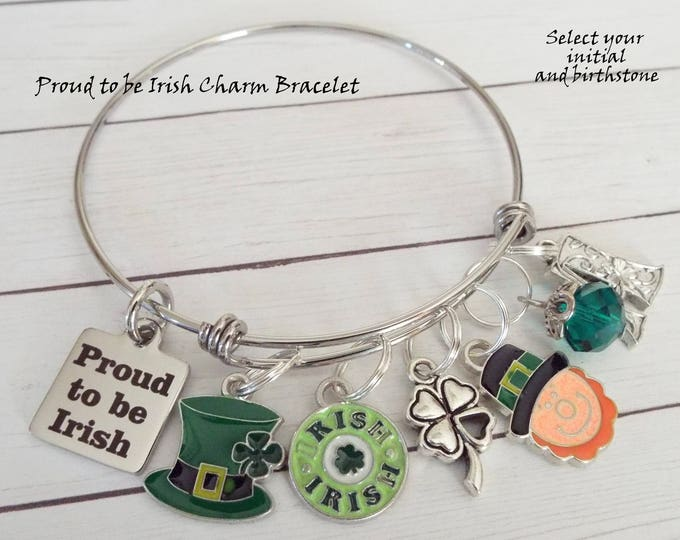 Irish Girl Gift, St Patrick's Day Charm Bracelet, Personalized Gift, Shamrock Jewelry, St Patricks Day Gift, Gift for Her, March Birthday