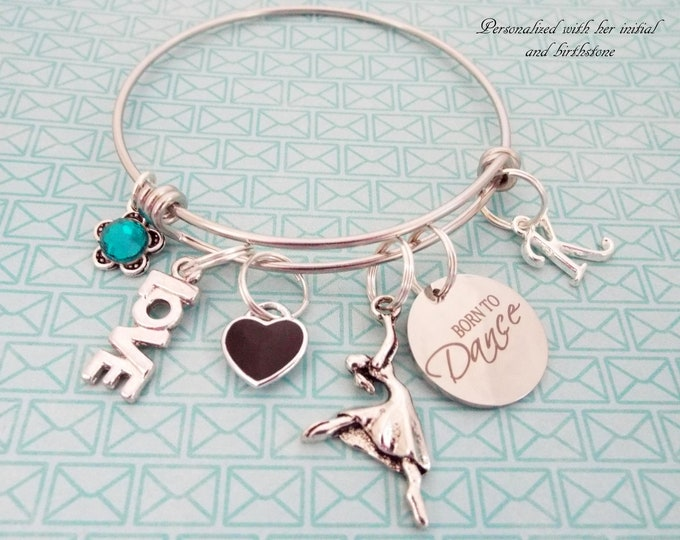 Personalized Dancing Dance Recital Charm Bracelet, Dancer Gift, Personalized for Her, Born to Dance Jewelry, Girl Birthday Gift, Daughter