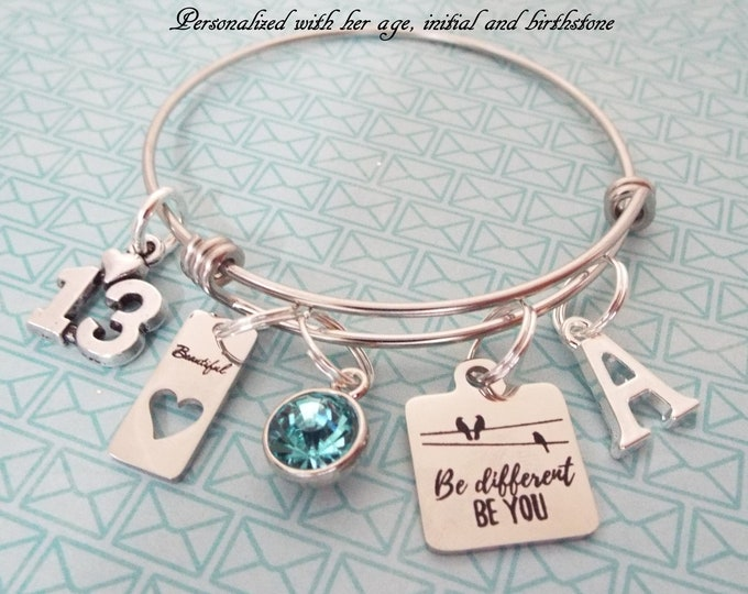 Girl's Birthday Charm Bracelet, 13 Year Old Teenager Gift, Teenage Girl, Birthday for Her, Birthstone Jewelry, Personalized Gift, Girl Gift