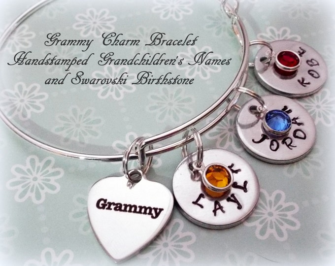 Grandmother Gift, Handstamped Grandchild Bracelet, Personalized Grandmother Jewelry, Gift for Grammy, Grandchild to Grandmother Gift
