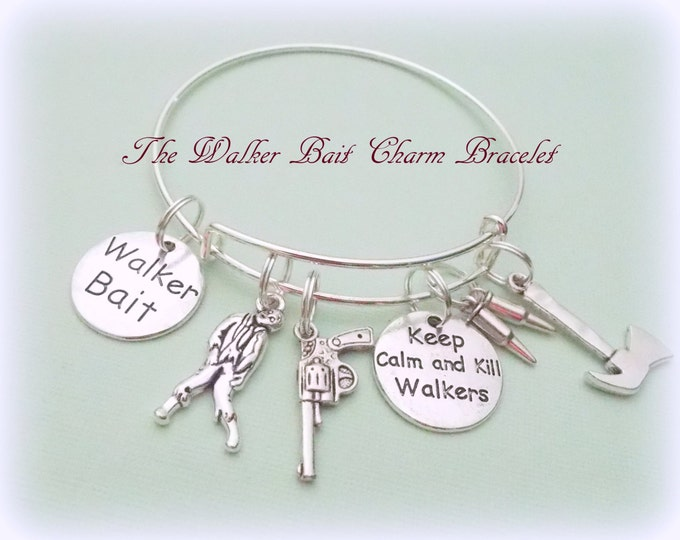 Walking Dead Fan Gift, Walking Dead Charm Bracelet, Gift for Walking Dead Fans, Walker Bait Bracelet, Walking Dead Jewelry