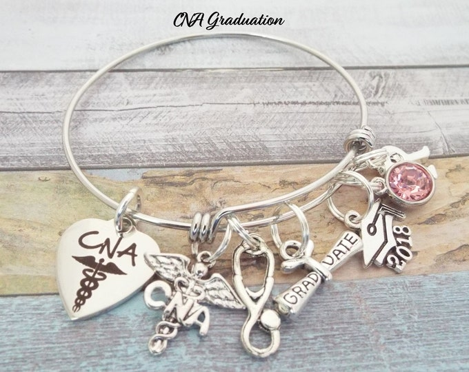 CNA Gift, CNA Graduation Gift, Gift Ideas for Nursing Assistants, Personalized Gifts, Graduation Gift for CNA, Initial Jewelry