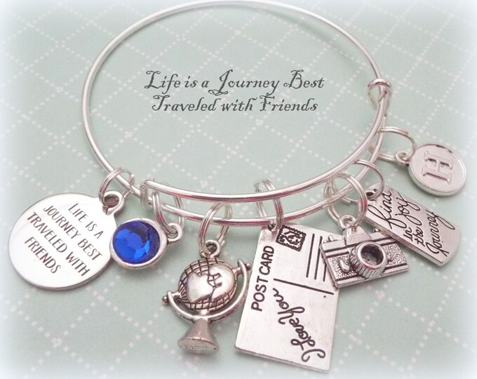 Travel Lover Gift, Jewelry Gift for Travel Lover, Travel Buddy Gift, Personalized Friend Gift, Best Friend, Personalized Jewelry Gift, F01