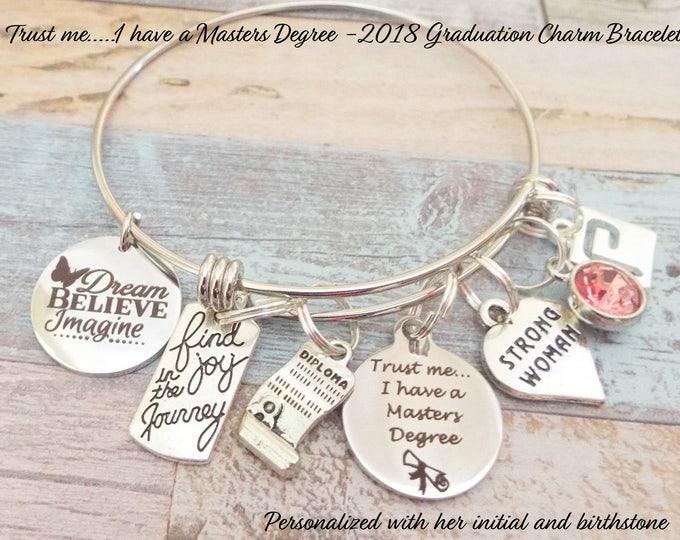 Graduation Gift, Girl Graduation Gift, Masters Degree Graduation Charm Bracelet, Gift for Graduate, 2018 Graduation Gift, Personalized Gift