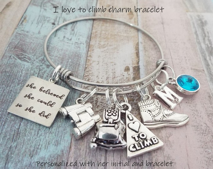 Climbing Hiking Charm Bracelet, Gift for Climber, Sports Jewelry, Gift for Her, Girl Gift, Personalized Gift, Woman Climber, Girl Birthday
