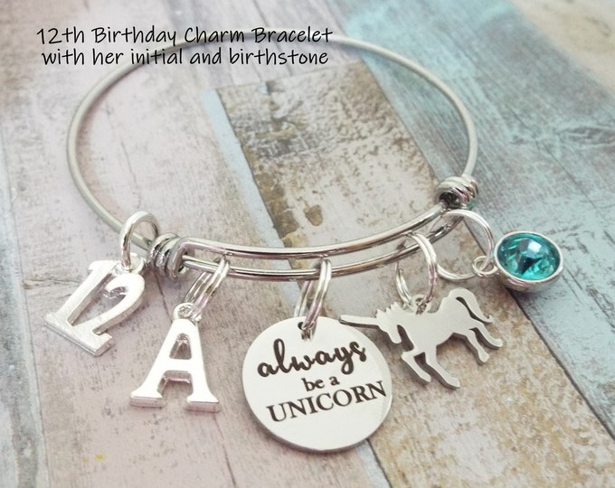 12th Birthday Girl, Unicorn Charm Bracelet, 12 Year Old Girl Gift, Daughter Birthday, Personalized Gift, Custom Jewelry, Gift for Her