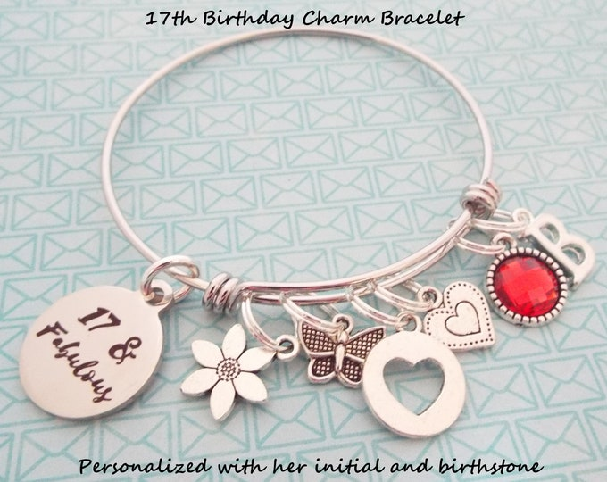 Girl 17th Birthday Charm Bracelet, Gift for 17th Birthday Girl, Personalized Gift, Gift for Her, Birthday for Girl, Teenage Girl Gift