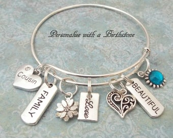 Cousin Gift Family Personalized For Jewelry Initial Her Gifts Birthday