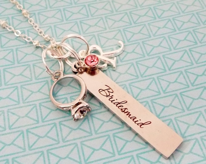 Bridesmaid Gift from Bride, Wedding Gift, Personalized Bridal Jewelry, Wedding Party, Birthstone Necklace, Initial Jewelry, Gift for Her