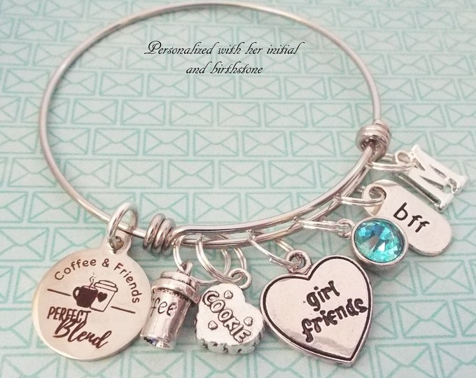 Coffee Best Friend Charm Bracelet, Gift for Her, Personalized Gift, Silver Bracelet, Custom Jewelry, Gift for BFF, Girlfriend Christmas