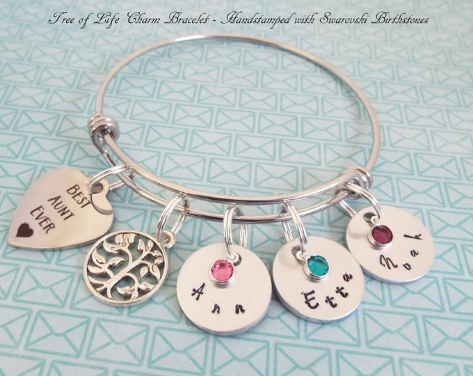 Gift for Aunt, Tree of Life Charm Bracelet, Personalized Gift, Custom Jewelry, Gift for Her, Niece to Aunt, Aunt Christmas Gift, Auntie