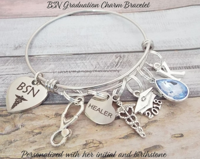 BSN Nurse Graduation Charm Bracelet, Gift for Nurse, Nurse Grad Gift, BSN Graduation Gift, Gift for Nurse Graduation, Gift for RN, Girl Gift
