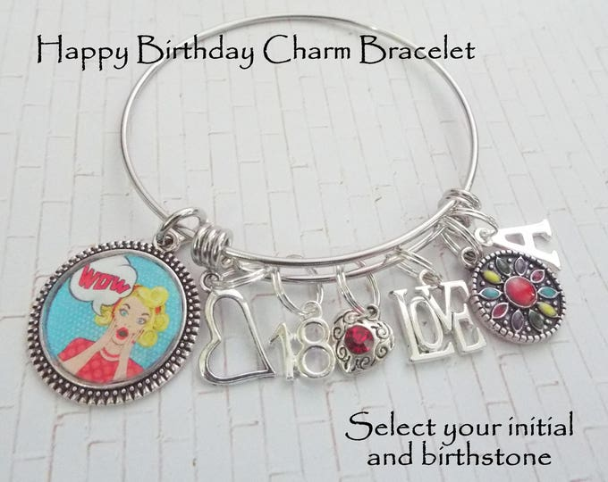 Birthday Gift for Girl, 18th Birthday Gift Girl, Girl's 18th Birthday Charm Bracelet, Daughter's 18th Birthday Gift, Birthday Jewelry