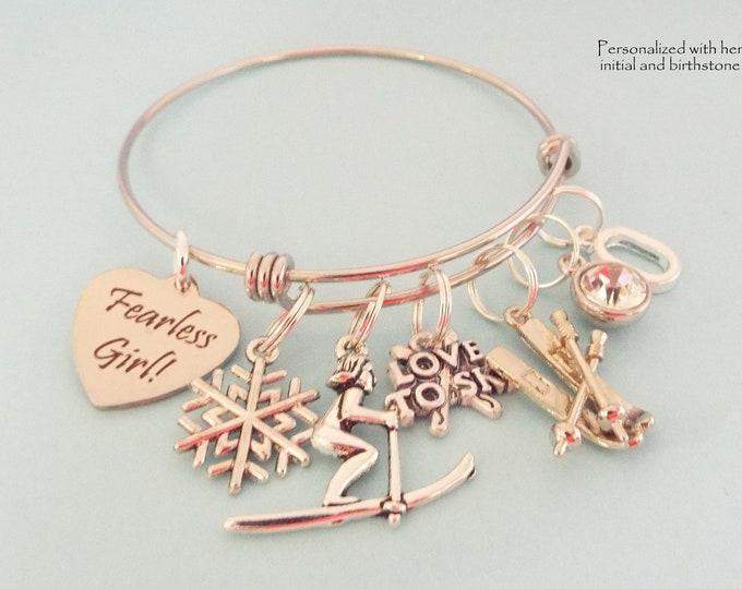 Ski Charm Bracelet, Gift for Skier, Custom Sports Jewelry, Personalized for Her, Birthstone Initial Bracelet, Gifts for Her, Skiing Gift