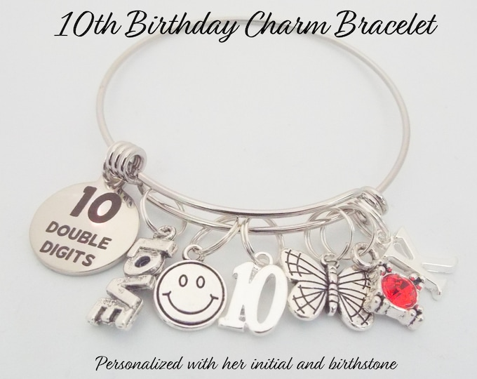 Girl's 10th Birthday Gift, 10th Birthday Charm Bracelet, Birthday Gift for 10 Year Old Girl, Personalized Gift, Birthday Jewelry, Girl Gift