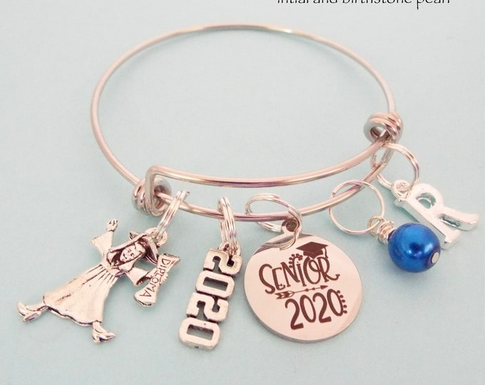 Graduation Gift for Girl, Class of 2020 for Graduate, Senior Graduating Charm Bracelet, Personalized Gift, Gift for Her, Custom Jewelry