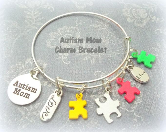 Autism Mom Charm Bracelet, Autism Awareness Jewelry, Autism Awareness Gift for Mother, Autism Puzzle Bracelet, Gift for Her, Women's Gift