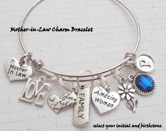 Mother-in-Law Gift, Personalized Gift, Initial Jewelry, Gifts for Her, Mother Bracelet, Gifts for Mother, Daughter to Mother Gift. Mom Gift