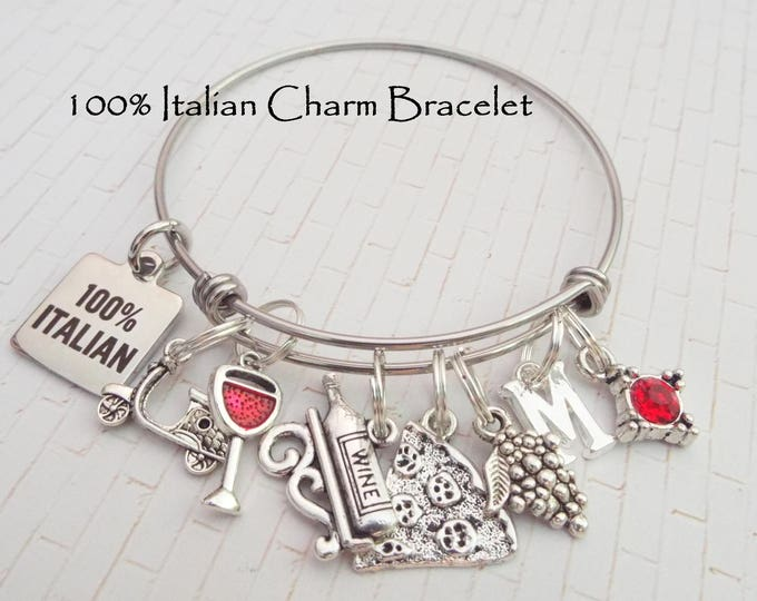 Italian Jewelry, Italy Gift, Travel Charm Bracelet, Woman's Birthday Gift, Italy Jewelry, Italy Gift, Personalized Gift, Gift for Girl