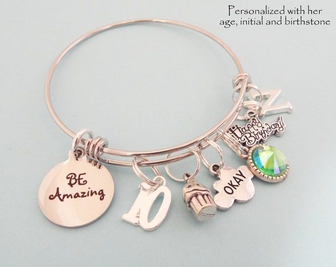 10th Birthday Charm Bracelet, Gift for Girl Turning 10, Personalized Gift, Child's Birthday, Birthstone Jewelry, Initial Bracelet, for Her