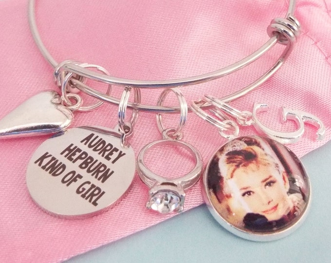 Audrey Hepburn Charm Bracelet, Personalized Custom Stacking Bracelet, Birthday Gift for Girl, Daughter Gift from Mother, Layering Bracelet