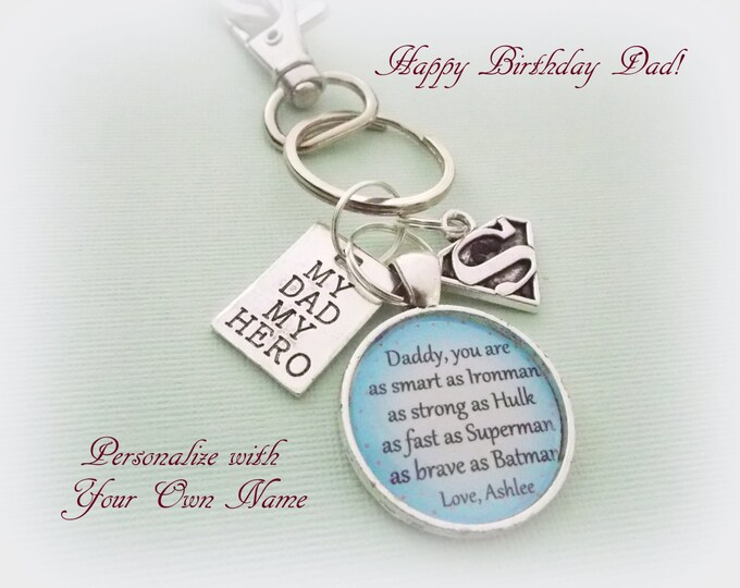 Father's Day Gift for Dad, Child to Dad on Fathers Day, Daughter to Dad Gift, Custom Keychain Father, Gift for Father from Daughter