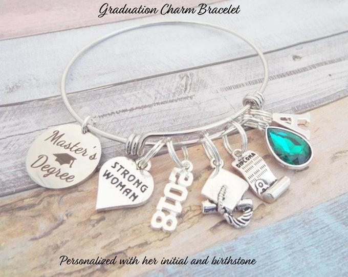 Master's Degree Graduation Gift, Graduation Charm Bracelet, College Graduate Gift, Gift for Girl Graduate, Gift for College Graduate