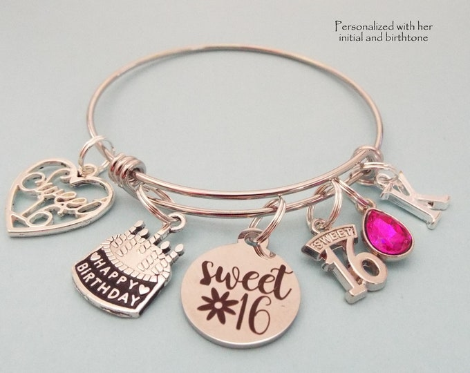 Sweet 16 Charm Bracelet, 16th Birthday Gift, Daughter Turning 16 Birthday Jewelry, Teenage Girl Birthstone, Initial Bracelet, Gift for Her