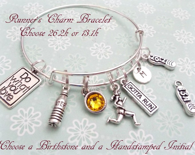 Marthon Runner Gift, Runner Charm Bracelet, Gift Ideas for Runners, Marathon Runner Gift, Gift for Friend, Personalized Gift