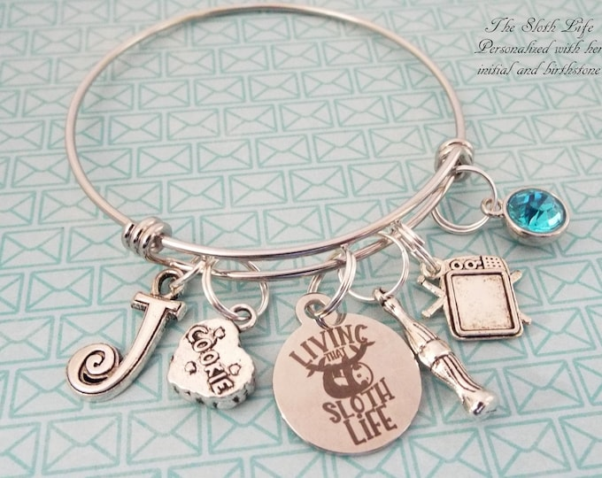 Sloth Jewelry, Personalized Gift, Charm Bracelet, Gift for Her, Teenage Girl Birthday Gift, Teenager Birthday, Custom Jewelry, Girl Gift