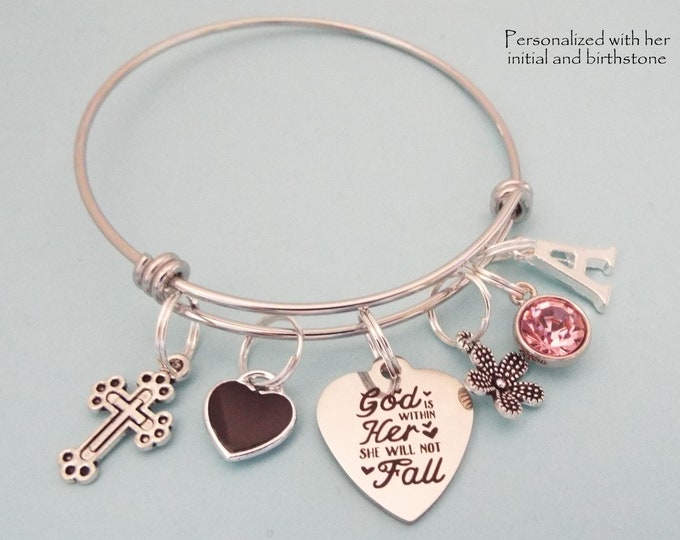 Christian Girl Charm Bracelet, Cross Jewelry, Faith Jewelry Gifts, Bible Verse, First Communion for Girls, Women Jewelry, Personalized Gift