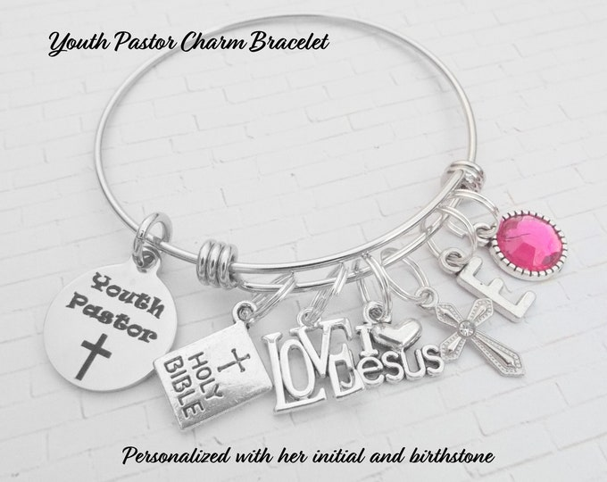 Youth Pastor Charm Bracelet, Pastor Gift, Christian Jewelry, Bible Verse, Cross Charms, Sunday School, Gift for Her, Birthstone Bracelet