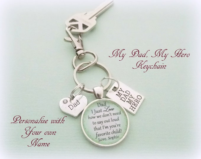 Father's Day Keychain, Father's Day Gift, Child Gift to Dad, Custom Keychain for Dad, Daughter to Dad Gift, Son to Dad Gift, Gift for Him