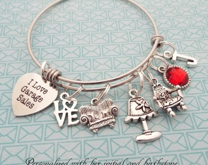 Birthday for Her, Garage Sale Charm Bracelet, Best Friend Gift, Silver Bracelet, Personalized Gift, Custom Jewelry, Daughter Gift, Girl Gift