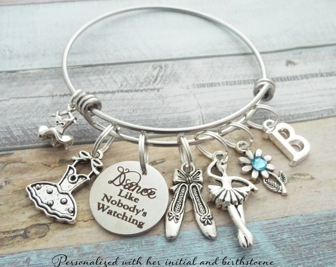 Ballet Dancer Charm Bracelet, Gift for Dancer, Dance Jewelry, Dancer Jewelry, Personalized Gift, Custom Jewelry, Gift for Girl, Gift for Her