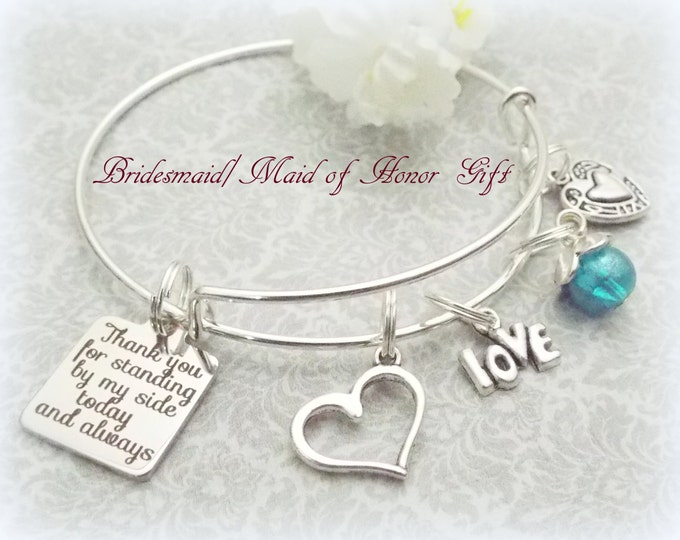 Bridesmaid Gift, Matron of Honor Jewelry, Maid of Honor Charm Bracelet, Rehearsal Dinner Gift, Personalized Jewelry, Wedding, Bridal