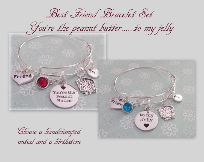 Best Friend Gift Set, Personalized Valentine Gift, BFF Charm Bracelet, Jewelry Set, Custom Bracelets, Birthday for Her, Personalize for Her