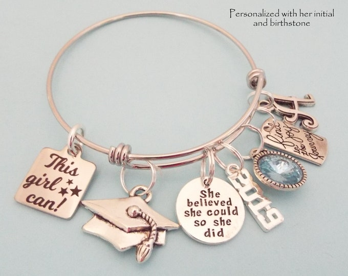 Girls Graduation Gift Charm Bracelet, Gift High School Graduate, Woman Graduating College Gift, Personalized Gift, Gift for Her, Feminist
