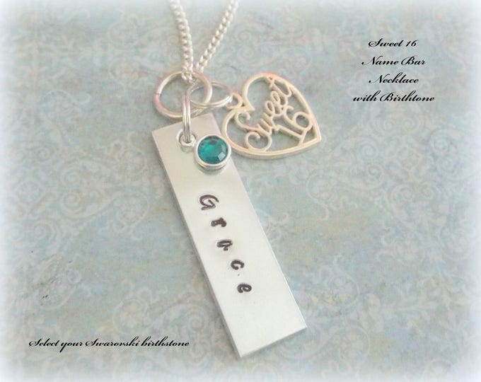 Custom Sweet 16 Name Bar Necklace, 16th Birthday Gift, Gift for Girl Turning 16, Handstamped Jewelry Gift, Girls Birthday Gift, Teenager