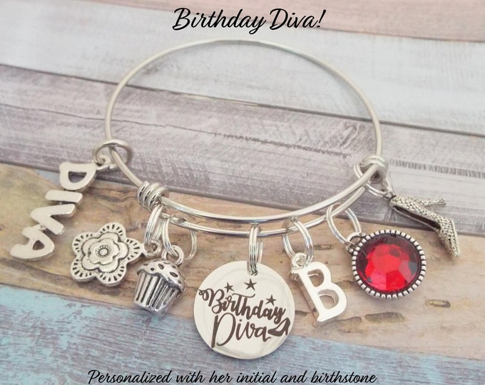 Birthday Diva Charm Bracelet, Personalized Birthday Gift for Her, Women's Jewelry Gift, Gift for Girlfriend's Birthday, Gift for Her