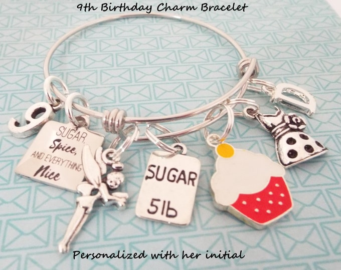 9th Birthday Gift, Ninth Birthday Charm Bracelet, Gift for Girl's 9th Birthday, Nine Year Old Girl Gift, Daughter Birthday, Gift for Her