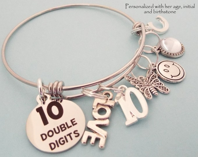 10th Birthday Girl, 10 Year Old Birthday Charm Bracelet, Girls Birthday Present, Gift for Daughter's Birthday, Girl Turning 10