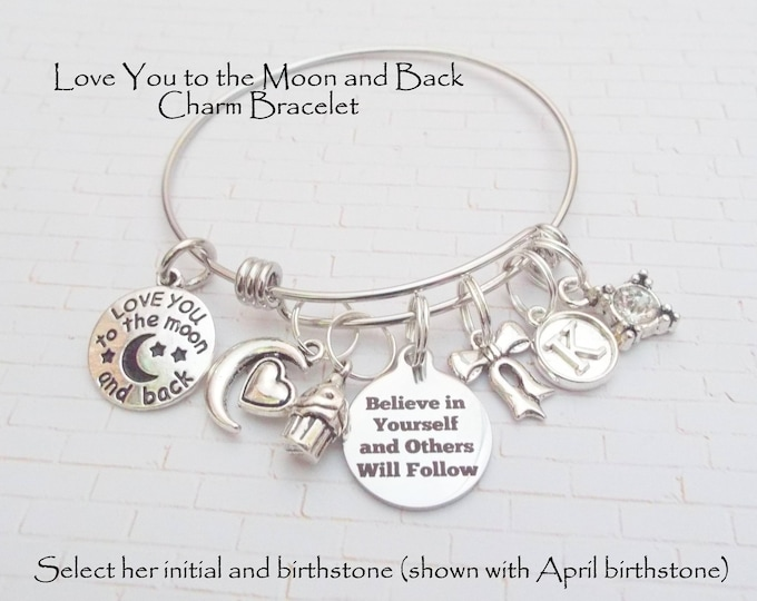 Birthday Gift for Girl, Daughter Birthday  Gift, Love You to the Moon and Back Charm Bracelet, Personalized Gift, Gift for Her, Gift for Her